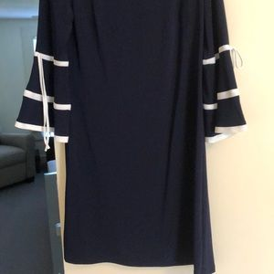 American Living Dresses - Navy and White Wide Sleeve Dress